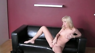 Lucky man fucking horny woman on couch