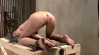 BDSM blonde is helpless for her strict masters thorough grasp
